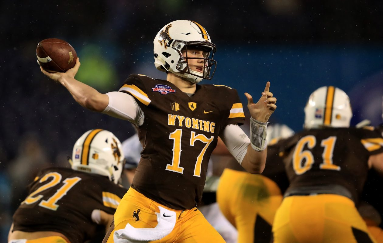 Wyoming quarterback Josh Allen is one of the biggest projections in the 2018 NFL Draft. (Getty Images)