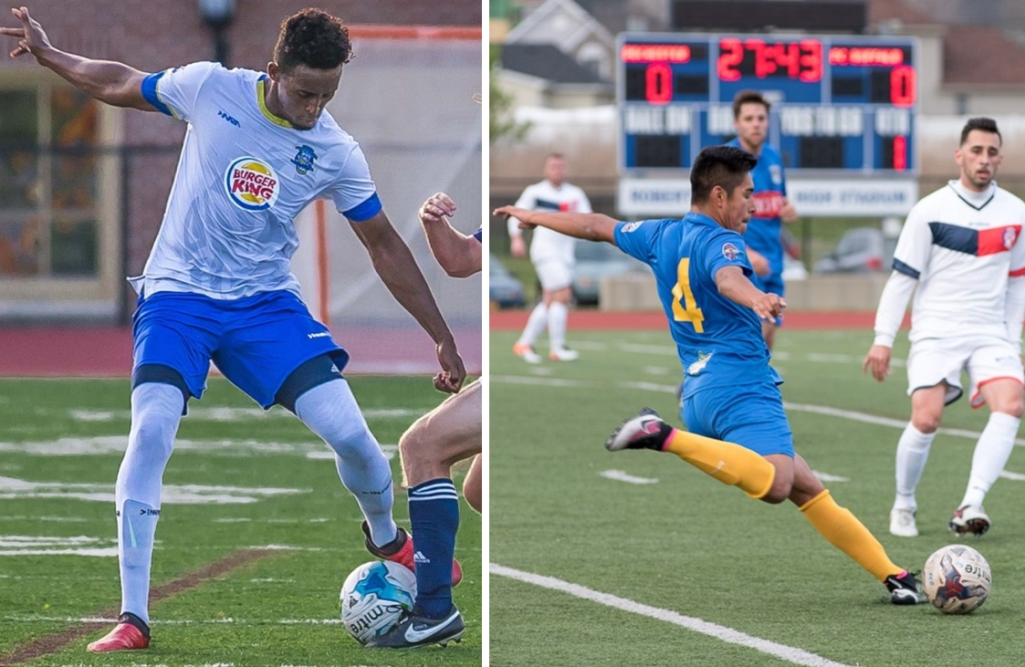 Erie Commdores' Ezana Kahsay, left, who graduated from International Prep in Buffalo, and Brian Paredes, middle, an FC Buffalo defender, were both selected to the NPSL Player Showcase. (Don Nieman/Special to The News; Matt Weinberg/Special to The News)