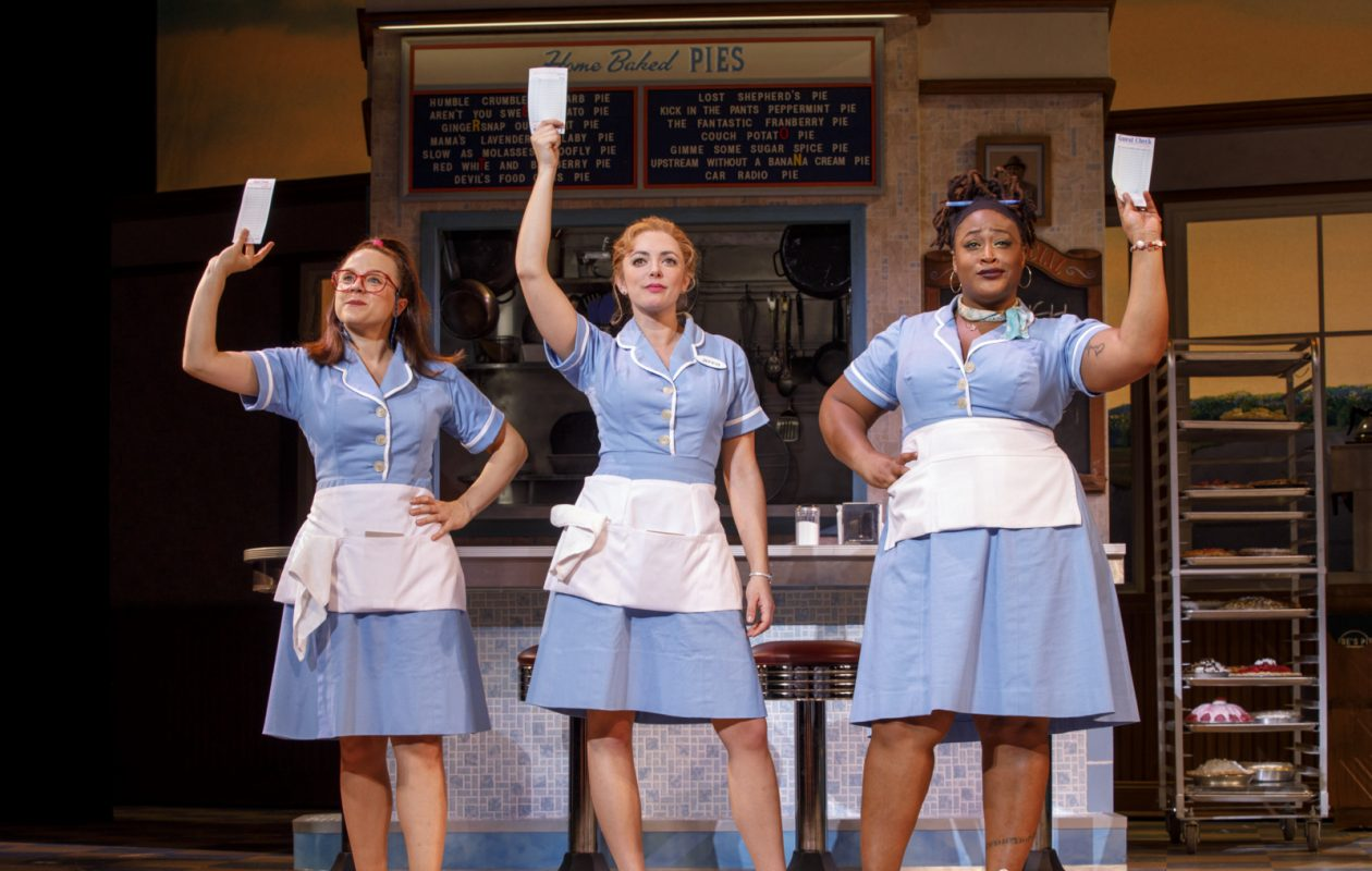 Lenne Klingman, left, joins Deski Oakley and Charity Dawson in the touring production of Waitress opening Feb. 6 in Sheas Performing Arts Center.