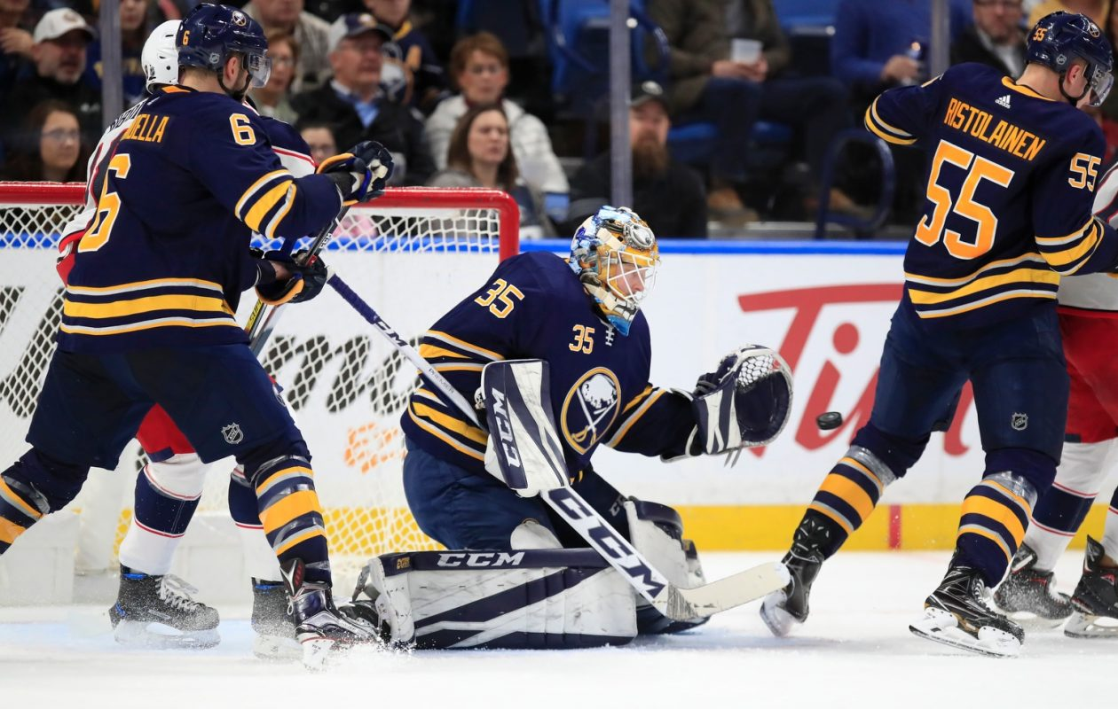 Linus Ullmark heads back to Rochester after his 44-save performance Thursday against Columbus (Harry Scull Jr./Buffalo News).
