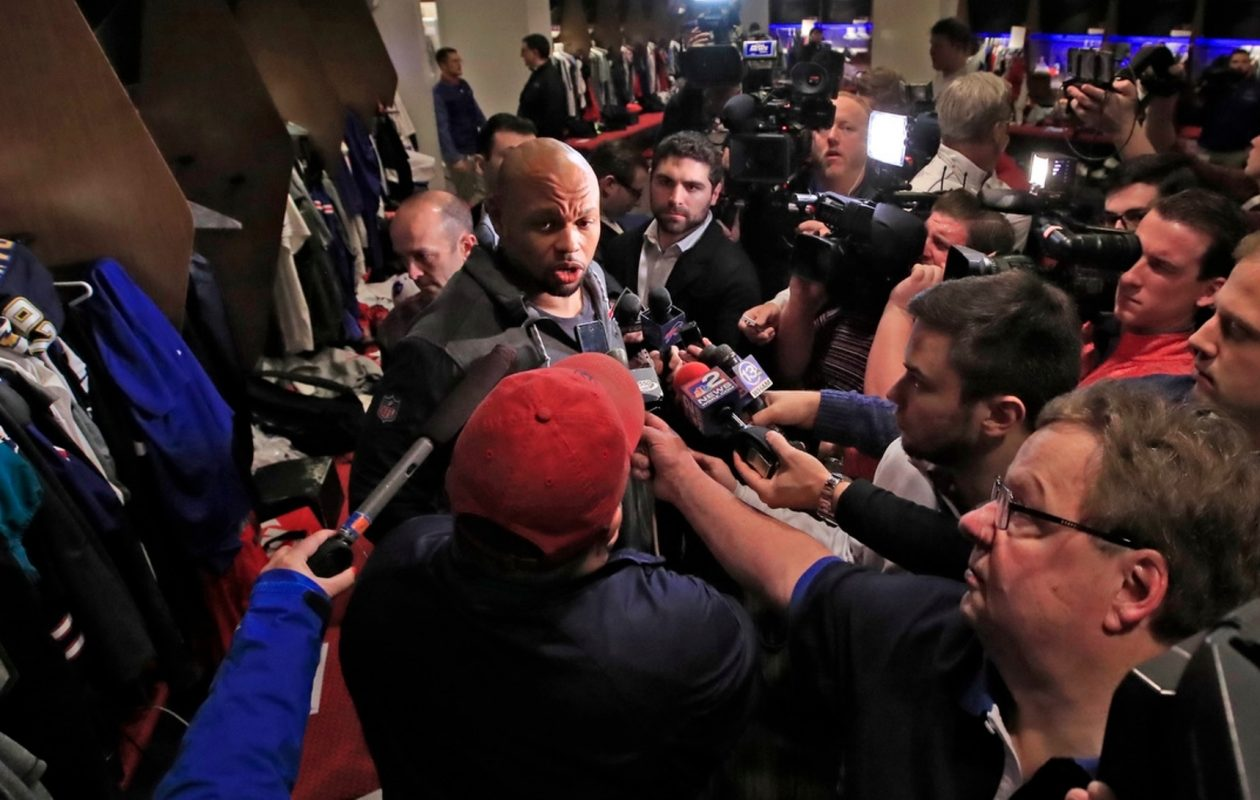 Lorenzo Alexander speaks to the media on Monday, Jan. 8, 2018, as the Bills cleaned out their lockers. (Harry Scull Jr./Buffalo News)