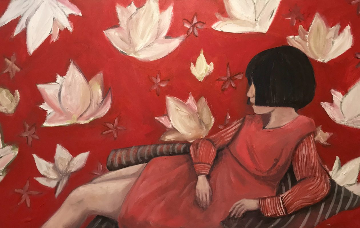 Lotus Girl, a 2017 painting by Alixandra Martin, is on view through Feb. 25 in the Kenan Center.