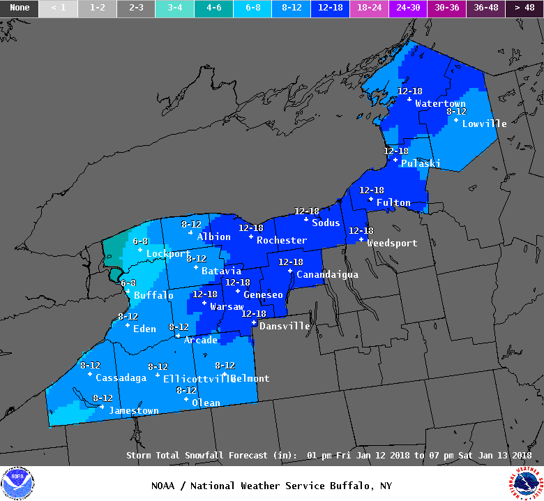 As many as 8 inches of snow is forecast for the metro Buffalo area by Saturday. Other parts of Western New York could pick up even more. (National Weather Service, Buffalo)