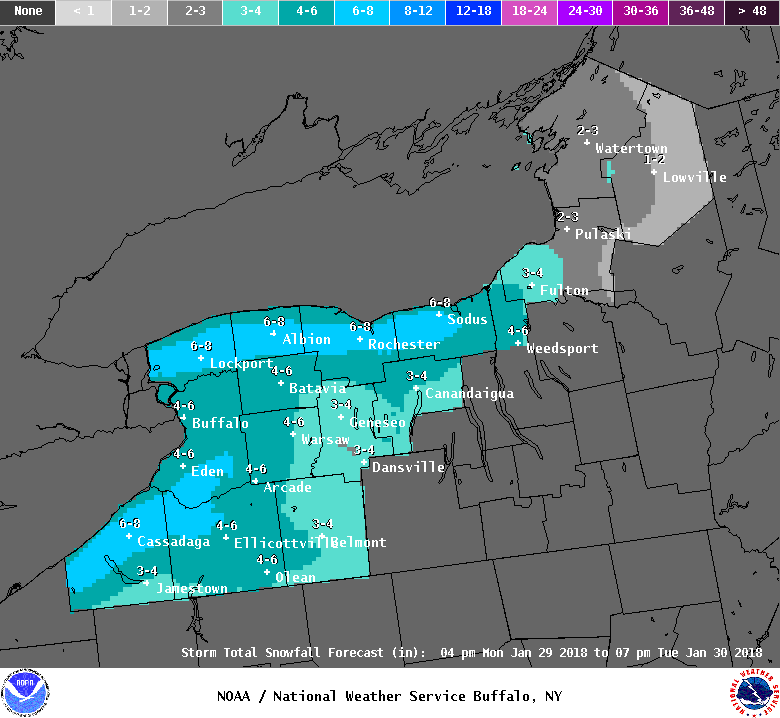 Up to 8 inches of snow was forecast to fall by afternoon across the northern tier and southwestern portion of Western New York. As of about 9:30 a.m., more than 6 inches fell in Eden and Boston. (National Weather Service)
