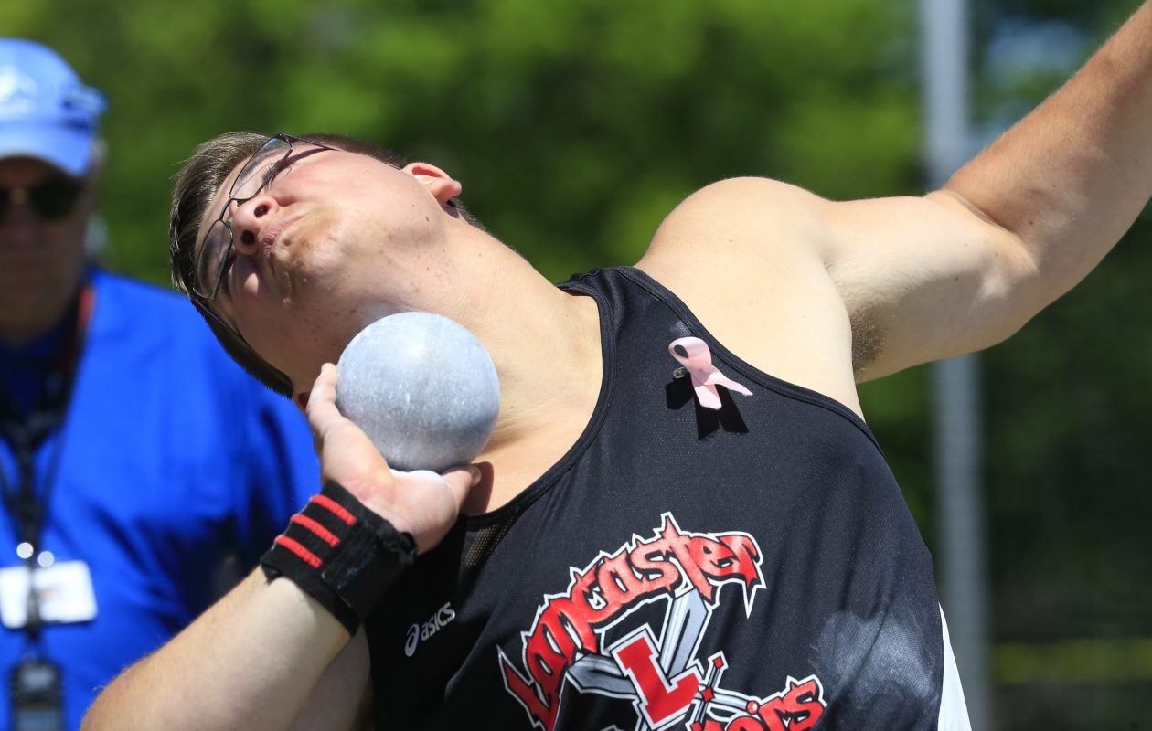 Jon Surdej of Lancaster has the top throw in Western New York in the shotput. (Harry Scull Jr./Buffalo News)