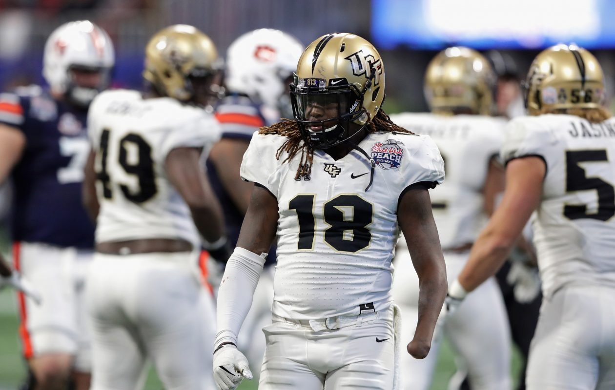 Shaquem Griffin from UCF is looking to convince NFL teams that he can continue to overcome missing his left hand. (Getty Images)
