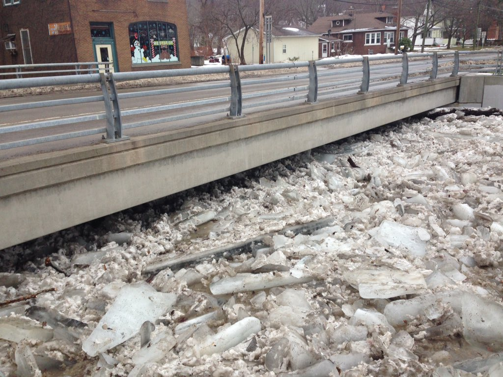 Ice jams collect by the Route 5 bridge over Walnut Creek in the village of Silver Creek on Thursday, Jan. 11, 2018. (T.J. Pignataro/The Buffalo News)
