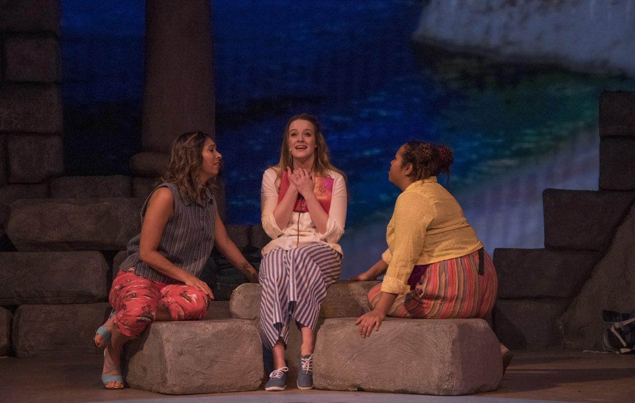 "Sara Marioles, Arianne Davidow and Alexandria Watts appear ""Mama Mia!"" at the Kavinoky Theatre."