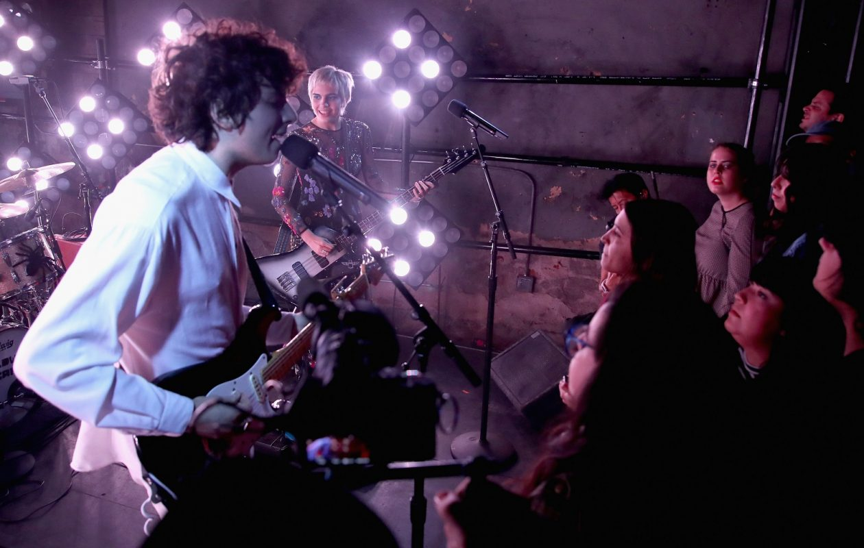 Nick Kivlen, left, of Sunflower Bean performs in Los Angeles in November 2016. The band will play Mohawk Place in May. (Randy Shropshire/Getty Images)
