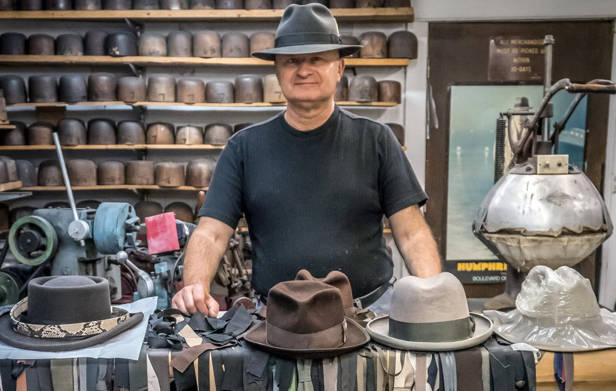 Gary White makes hats by hand at his shop on Buffalo's East Side. (Alicia Wittman)