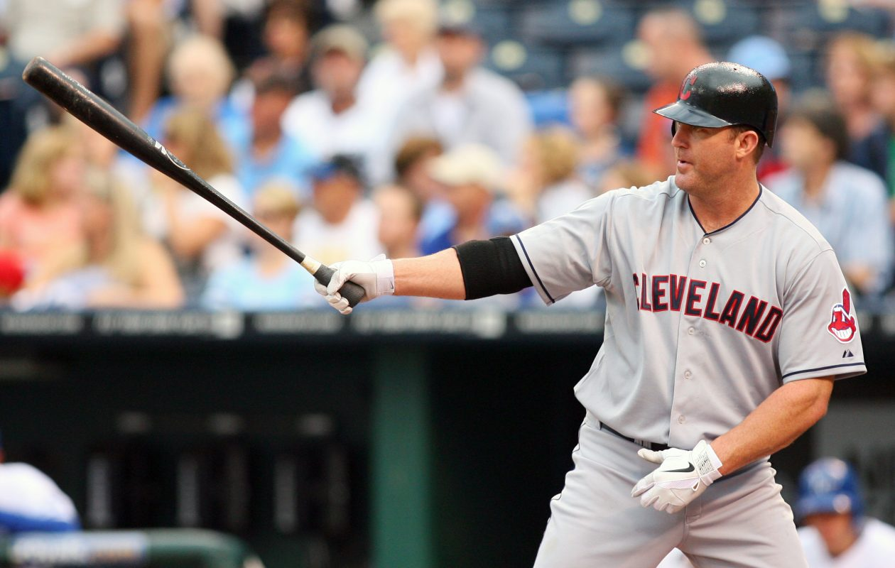 The classic Jim Thome bat-point was a trademark during his days with the Indians. (Getty Images).