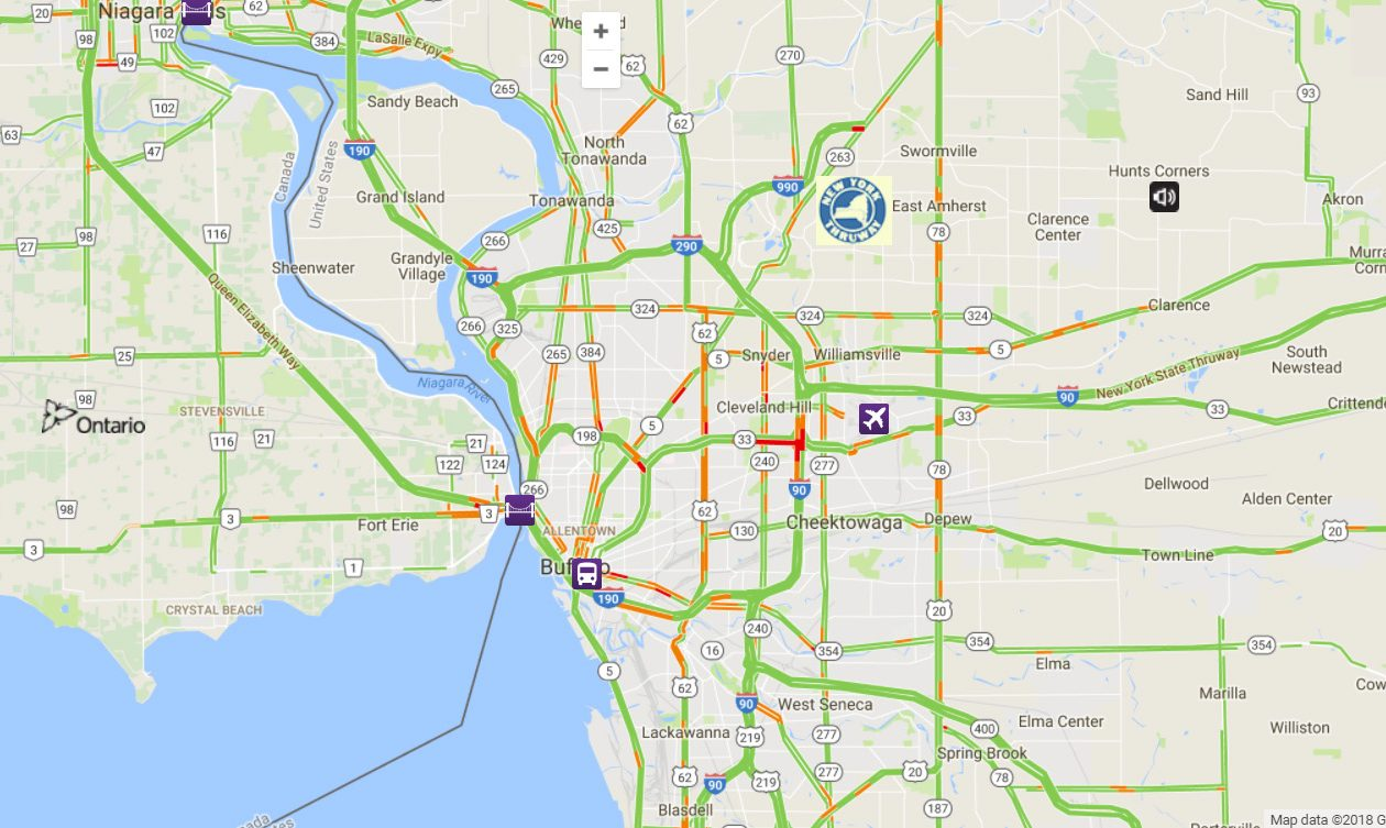 A look at NITTEC's traffic map as of 4 p.m. Friday. (NITTEC)