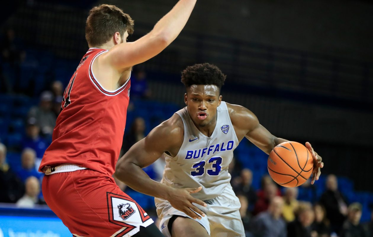 University at Buffalo forward Nick Perkins drives to the basket against Northern Illinois during second half action at Alumni Arena on Tuesday, Jan. 16, 2018. (Harry Scull Jr./ Buffalo News)