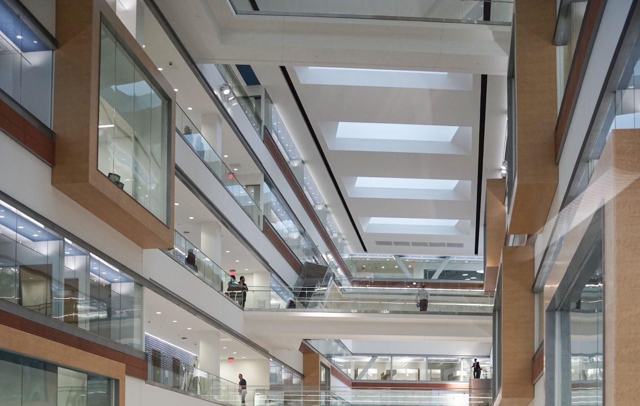 The atrium of the new UB Medical School. (Derek Gee/Buffalo News)