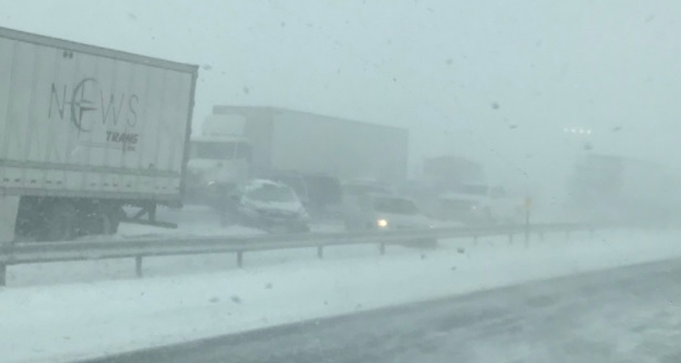This was taken at 2:07 p.m. westbound on the I-90. Eastbound traffic was at a standstill. (Photo courtesy of Jen Dywer)