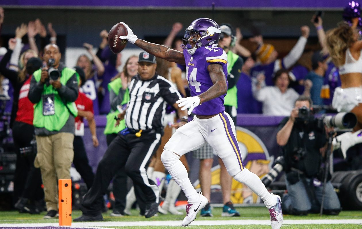 Stefon Diggs of the Minnesota Vikings scores a touchdown as time expires against the New Orleans Saints at the NFC Divisional Playoff game on Jan. 14, 2018, in Minneapolis, Minn. (Getty Images)