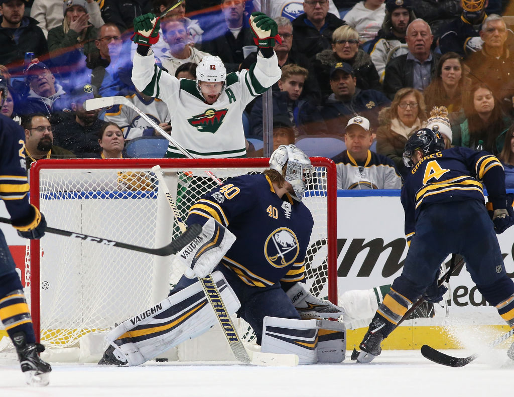 Eric Staal celebrates a goal by Nino Niederreiter past Robin Lehner in the Minnesota Wild's 5-4 win over Sabres on Nov. 22 in KeyBank Center (Getty Images).