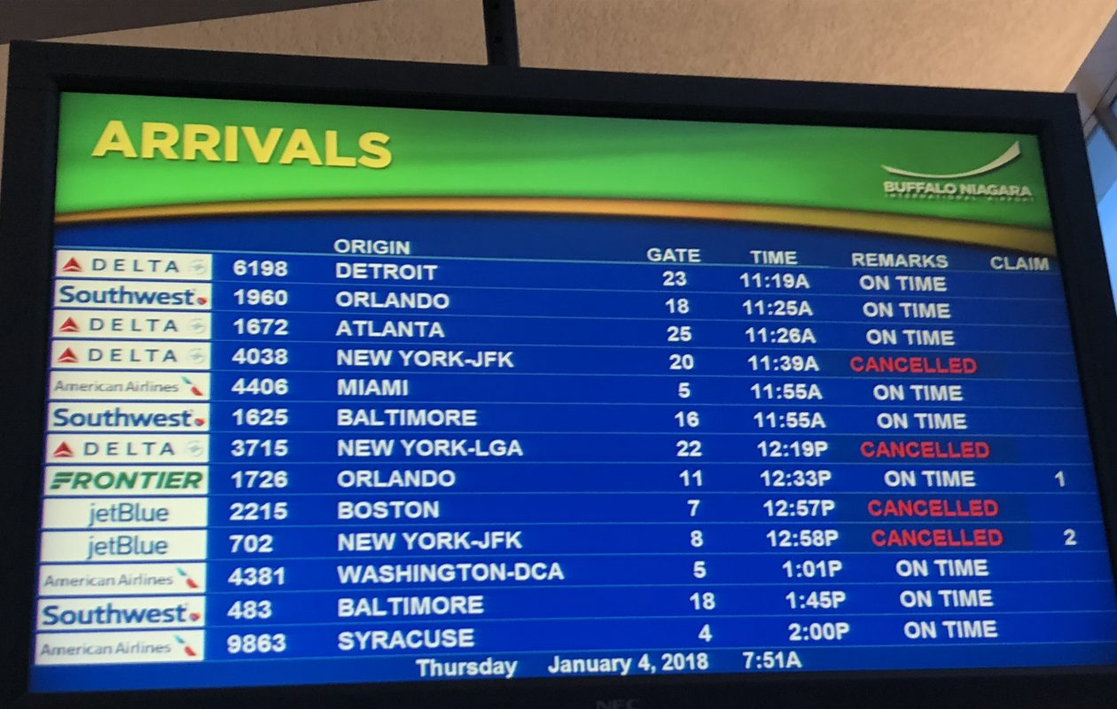 A display at the Buffalo Niagara International Airport shows some canceled flights from the East Coast Thursday. (Provided by Randy P. Schiff)
