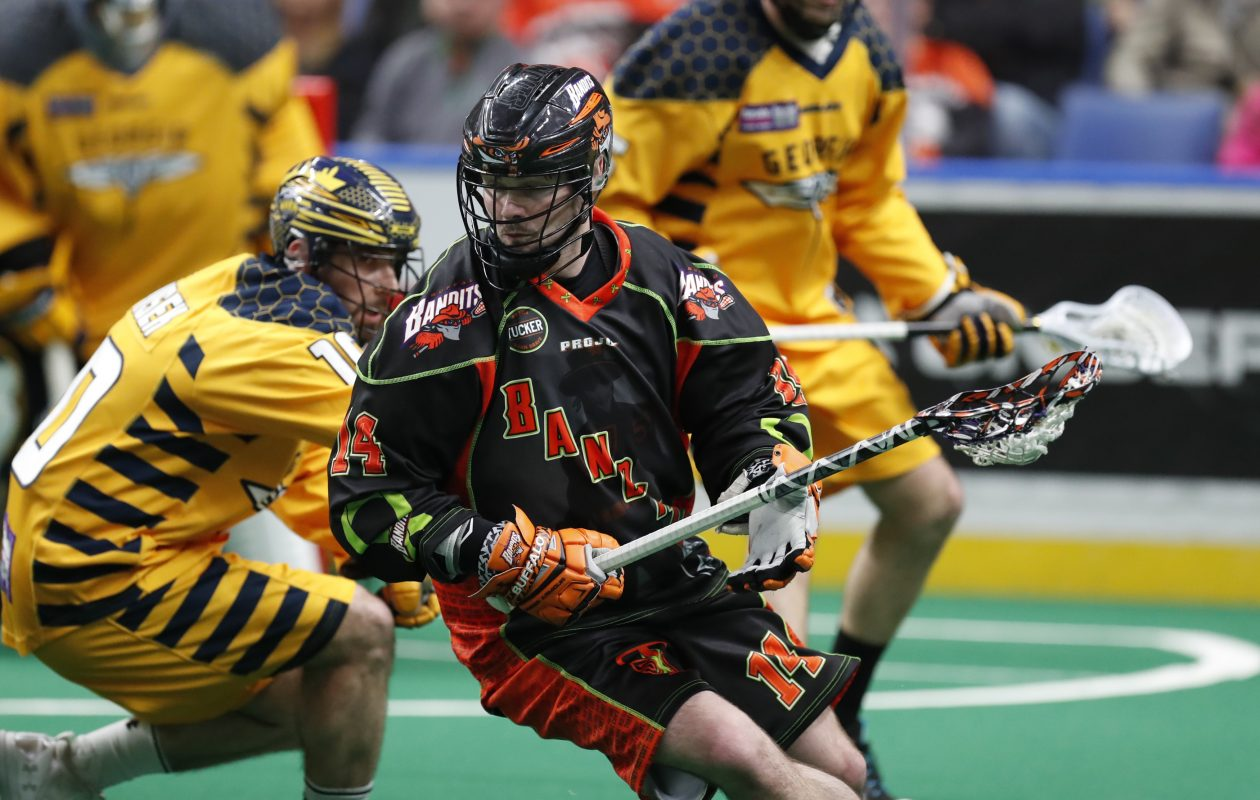 Buffalo Bandits Pat Saunders moves the ball against the Georgia Swarm during first half action at the KeyBank Center on Saturday, April 22, 2017. (Harry Scull Jr./Buffalo News)