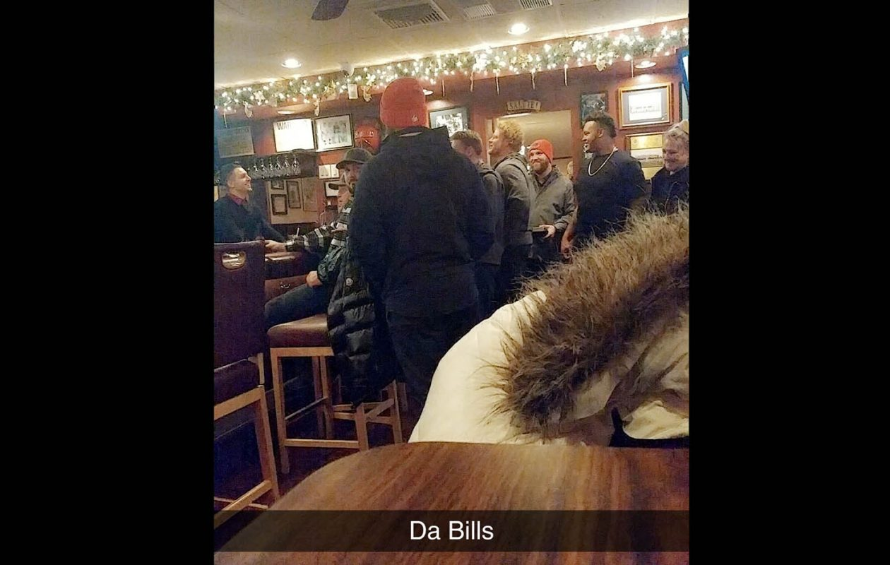 Eric Wood (center, in all ways) and a group of Buffalo Bills at Ilio DiPaolos Restaurant, in December, after win over the Indianapolis Colts. (Photo courtesy pf Lauren Kirchmyer)