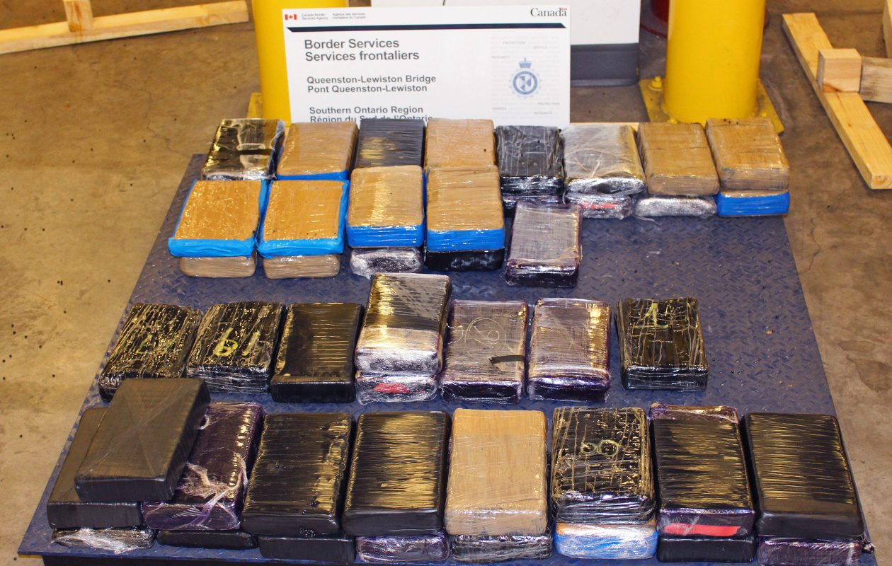Canadian authorities seized nearly 50 kilos of cocaine from a truck driver trying to cross into Canada at the Lewiston-Queenston Bridge last year. (Provided by Canada Border Services Agency)