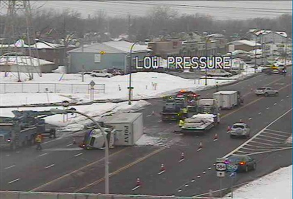 The southbound lanes of Delaware Avenue near the I-290 are closed because of a truck that rolled over. (Courtesy NITTEC)
