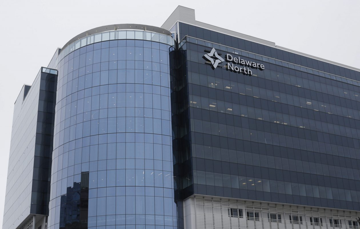 The new Delaware North headquarters at 250 Delaware Ave. (Derek Gee/Buffalo News)