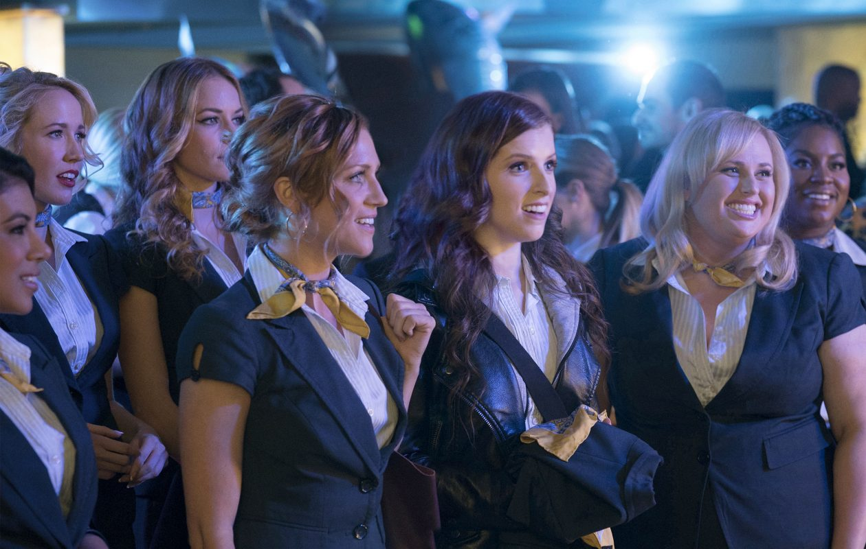 "(L-r) Chrissie Fit, Anna Camp, Alexis Knapp, Brittany Snow, Anna Kendrick, Rebel Wilson and Ester Dean in ""Pitch Perfect 3."" MUST CREDIT: Quantrell D. Colbert, Universal Pictures"