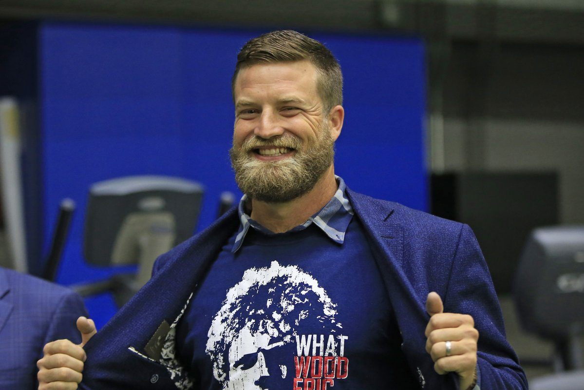 Ryan Fitzpatrick sports an Eric Wood shirt. (Harry Scull Jr./Buffalo News)