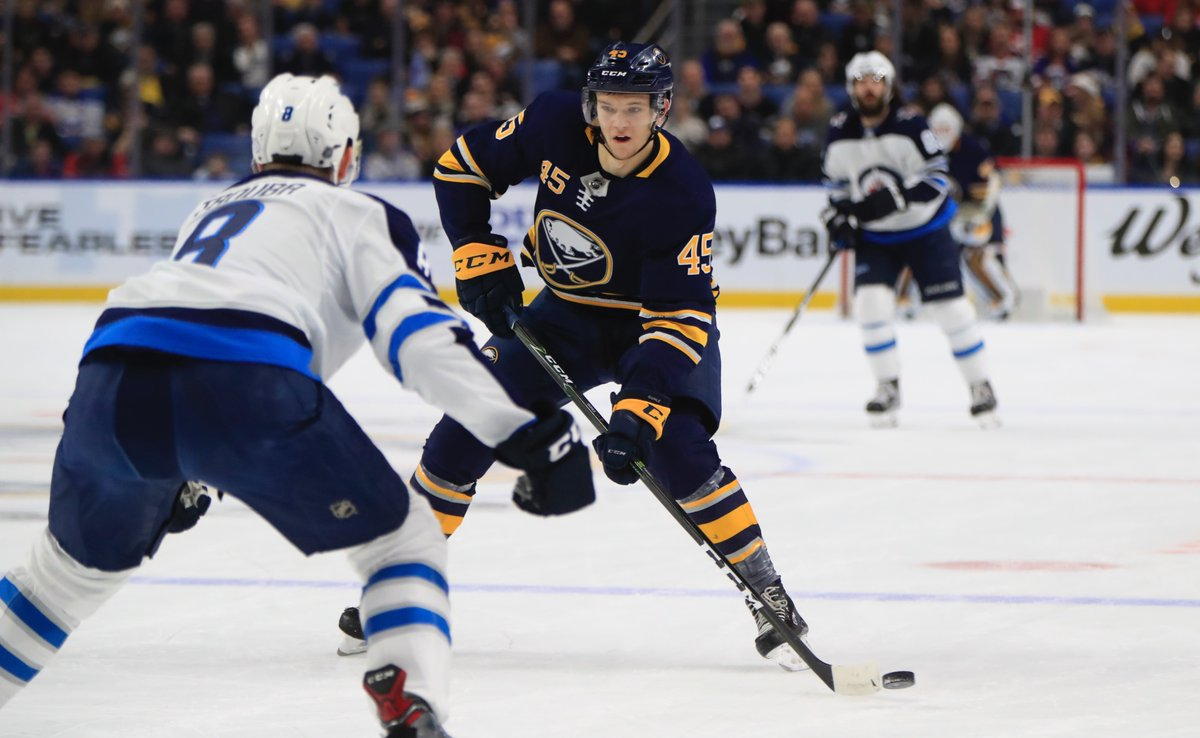 Brendan Guhle made his Sabres debut of the season against Winnipeg. (Harry Scull Jr./Buffalo News)