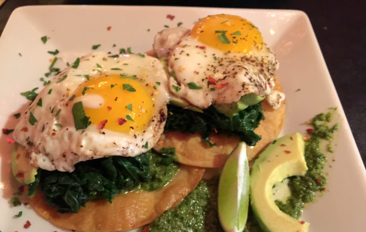 Gypsy Parlor Sunday brunch includes Gypsy Tostadas with kale and chimichurri sauce. (Andrew Galarneau/Buffalo News)