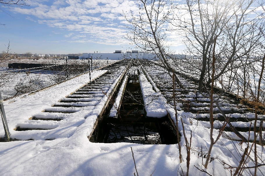 This railroad bridge is expected to become a piece of the planned Buffalo 'High Line.' (Mark Mulville/The Buffalo News)