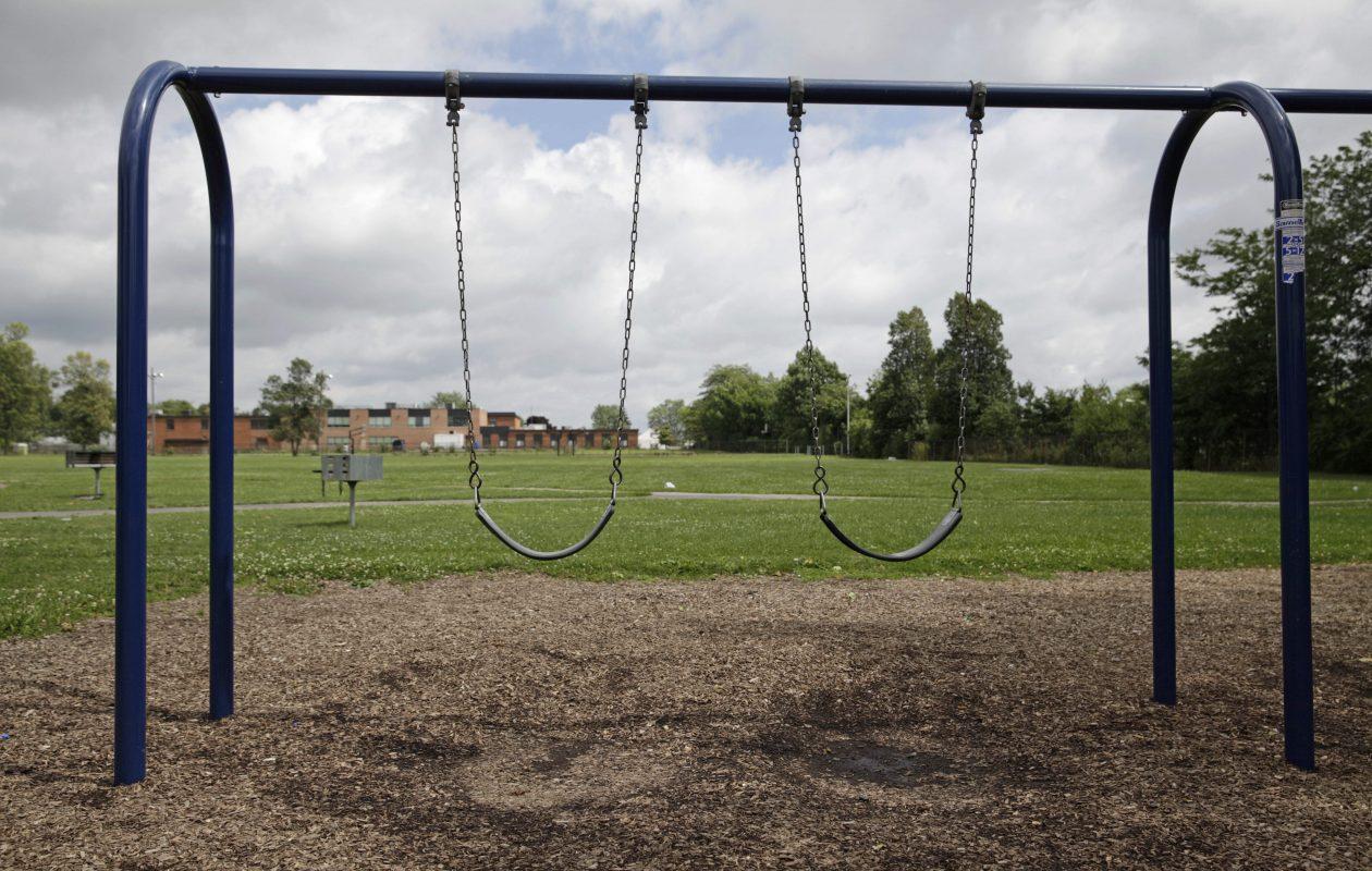 The playground at Roosevelt Park, pictured in 2014. (Derek Gee/Buffalo News)