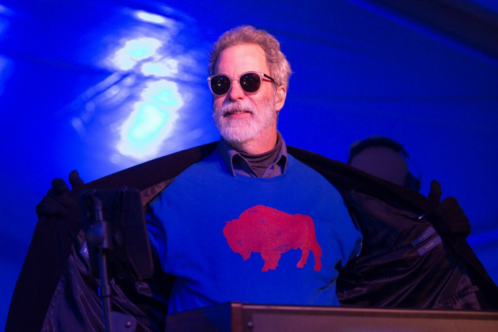 Dennis Drew, longtime keyboardist of the 10,000 Maniacs, breaks out the Bills shirt on New Year's Eve (Photo provided)