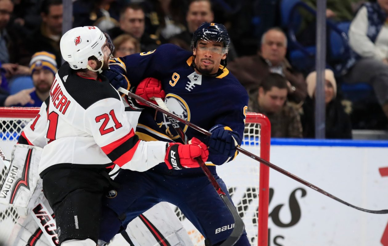 Evander Kane had no shots on goal against the Devils, the first time he's ever been blanked as a Sabre in KeyBank Center. (Harry Scull Jr./Buffalo News)