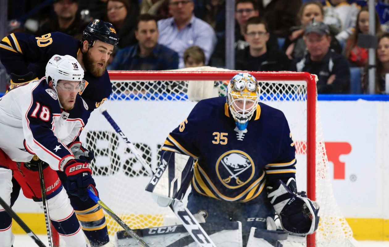 Linus Ullmark made a career-high 44 saves in Thursday's win. (Harry Scull Jr./Buffalo News)