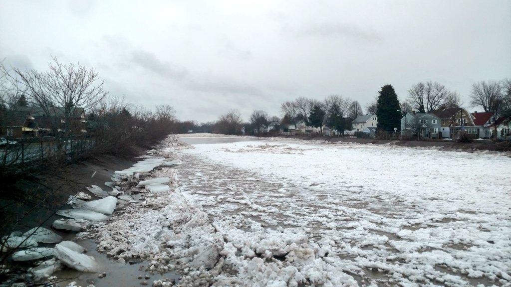Ice fills Cazenovia Creek at the Stevenson Street Bridge in January. (Photo courtesy of Mark Poloncarz)