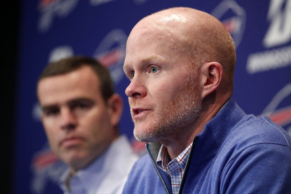 Coach Sean McDermott (right) and GM Brandon Beane address the media (Photo: Mark Mulville/Buffalo News)