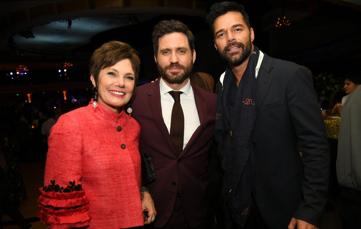 Author Maureen Orth with actor Edgar Ramirez, who stars as Gianni Versace and Ricky Martin, who stars as Versace's partner, attend the Jan. 8  after-party for the premiere of FX's 'The Assassination Of Gianni Versace: American Crime Story' at the Hollywood Palladium in Los Angeles.   (Getty Images)