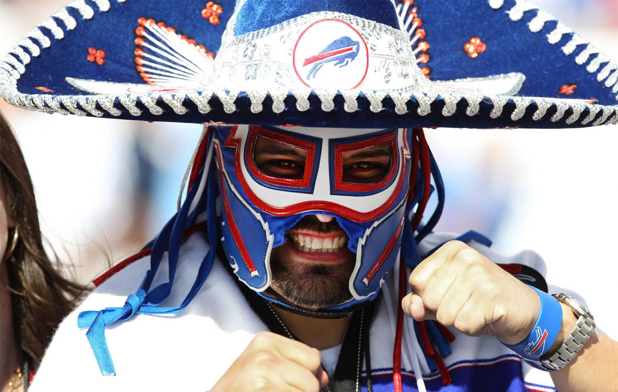 'Pancho Billa,' at a Bills game in 2013 in Tampa Bay: Ezra Castro's journey with cancer intensifies how he feels about the Bills making the playoffs. (James P. McCoy/Buffalo News)