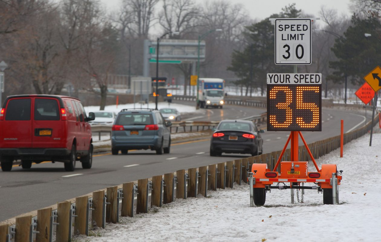 "The 30 mph speed limit remains on the Scajaquada Expressway despite the state Department of Transportation's ""reset"" after opposition to its plan for the roadway and Delaware Park. (Mark Mulville/Buffalo News file photo)"