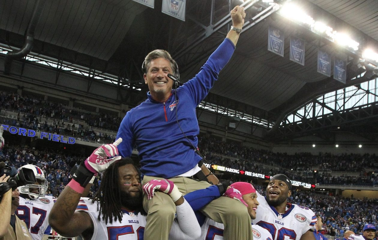 Ex-Bills defensive chief Jim Schwartz is carried off the field after a 2014 win in Detroit. (James P. McCoy/Buffalo News)