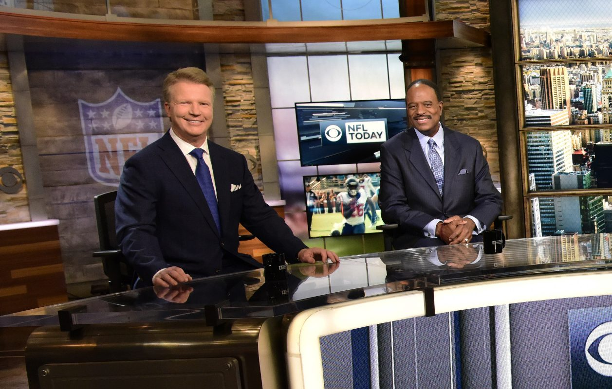 Phil Simms, left, with James Brown on the set of CBS's 'The NFL Today.'