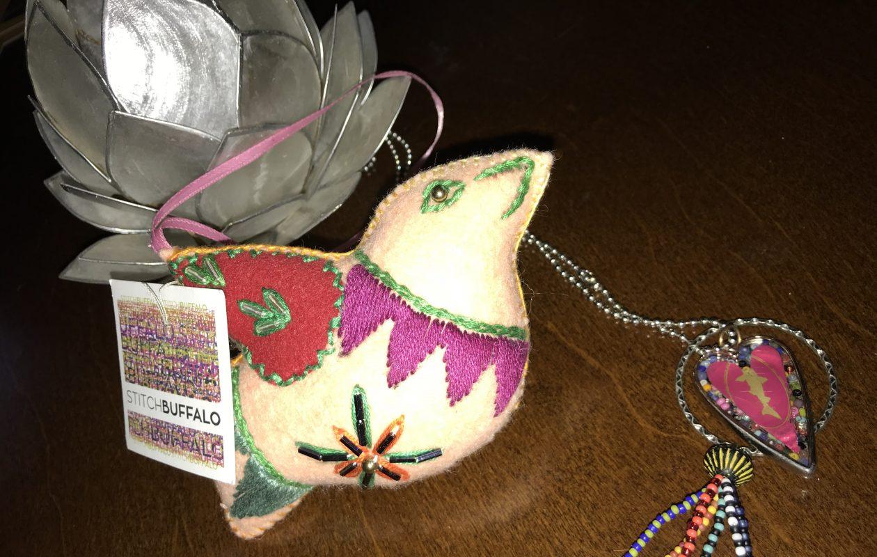 A handmade ornament for sale through Stitch Buffalo.