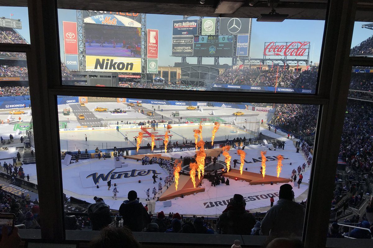 The pregame show at Citi Field before the Sabres play Rangers in Winter Classic. (John Vogl/Buffalo News)