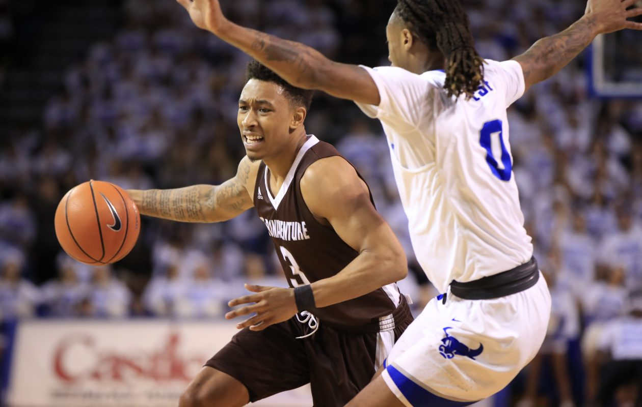 St. Bonaventure's Jaylen Adams fell shy of cracking the Big 4's all-time single-game scoring top 10 (Harry Scull Jr./News file photo)