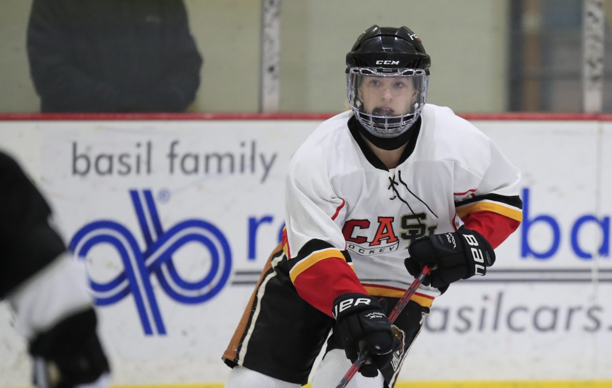 Casey Adimey and the Clarence/Amherst/Sweet Home hockey team enter the Section VI tournament on a four-game winning streak. (Harry Scull Jr./ Buffalo News)