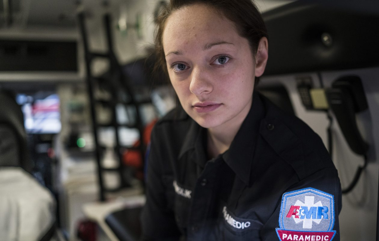 American Medical Response paramedic Abigail Molik is on the front lines of the opioid epidemic. (Derek Gee/Buffalo News)