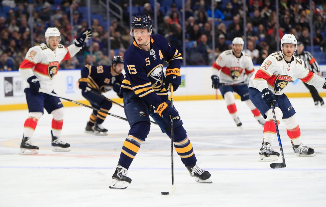 Sabres center Jack Eichel envisions a close Super Bowl and a Patriots victory. (Harry Scull Jr./Buffalo News)