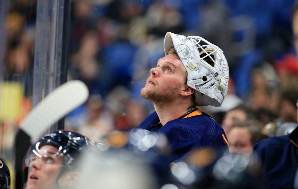 Despite a .955 save percentage in the last five games, Sabres goaltender Robin Lehner is just 2-2-1. (Harry Scull Jr./Buffalo News)